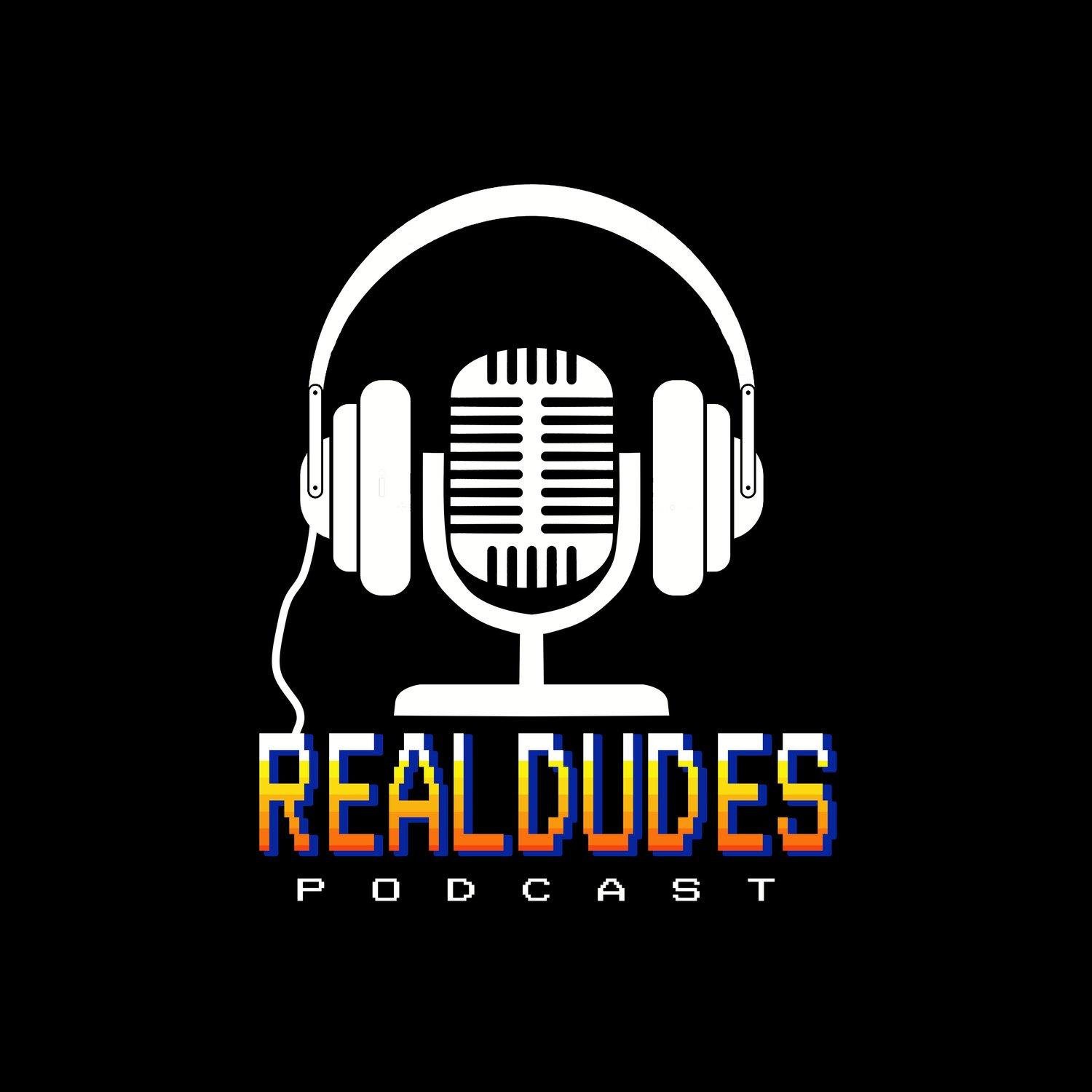 The real dudes podcast logo.